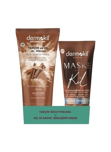 Dermokil Dermokil Tarçın Vücut Peeling 200 ML ve Kahveli Kil Maskesi 75 ML Renksiz
